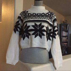 Crop Women's sweater black white Large